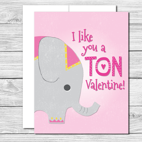 Valentine's Card with lovely elephant