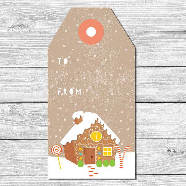 Gingerbread House Holiday Gift Tags