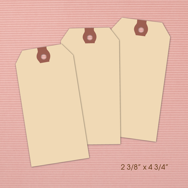 "Set of large paper hang tags 13pt manilla--2 3/8"" x 4 3/4"""