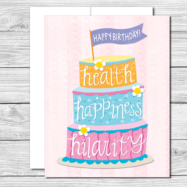 Health, happiness & hilarity! Hand drawn birthday card