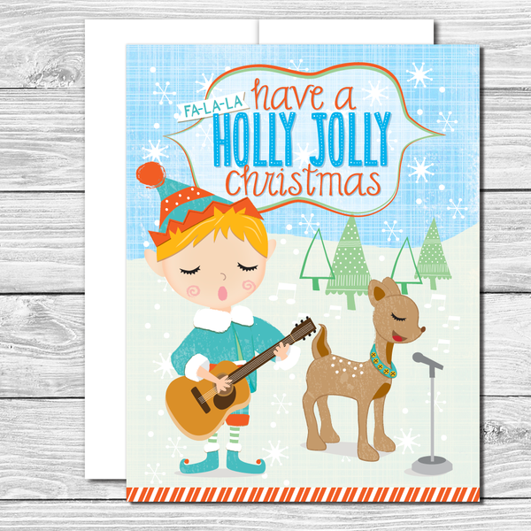 Have a Holly Jolly Christmas! Hand drawn greeting card