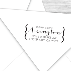 Modern Formal Calligraphy Return Address Stamp with Brackets