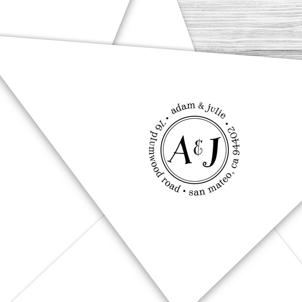 Round Return Address Stamp With Both Your Initials