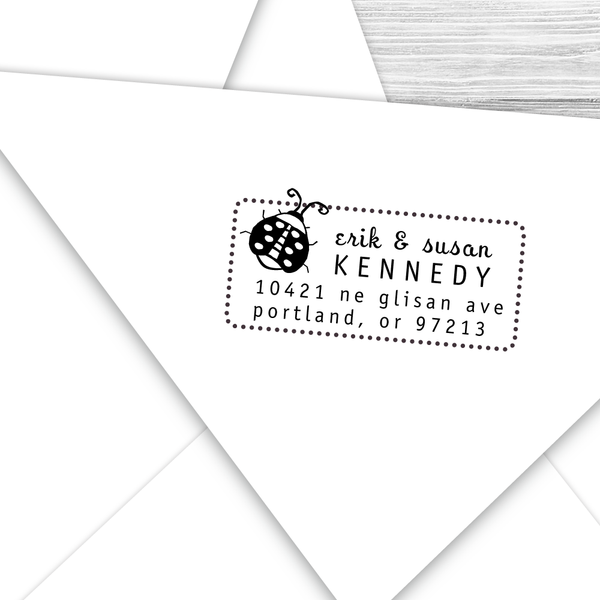 Rectangle Address Stamp with Ladybug