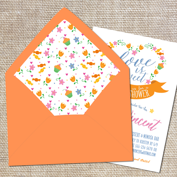 Love is Sweet Bridal Shower Lined Envelopes