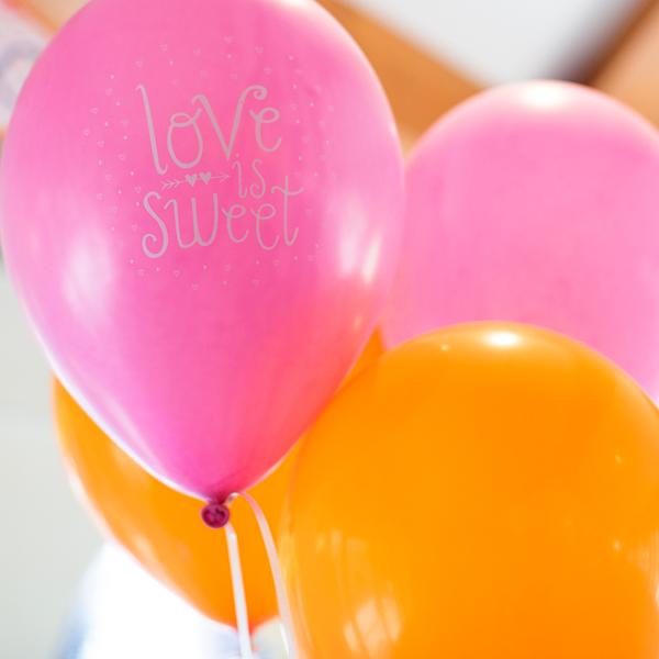 """Love is sweet!"" Printed Party Balloons"
