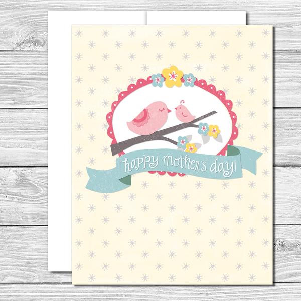 Happy Mother's Day! Mama and baby bird--hand drawn Mother's Day card