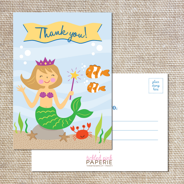Thank you Postcards--Little Mermaid Party