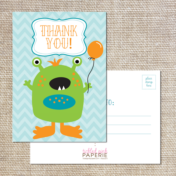 Thank you Postcards--Little Monster Party
