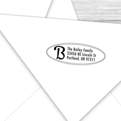 Oval Address Stamp with Retro Initial