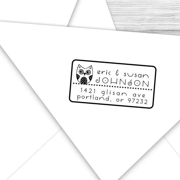 Rectangle Address Stamp with Baby Owl