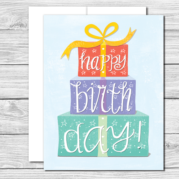 Stack up the gifts! Hand drawn birthday card