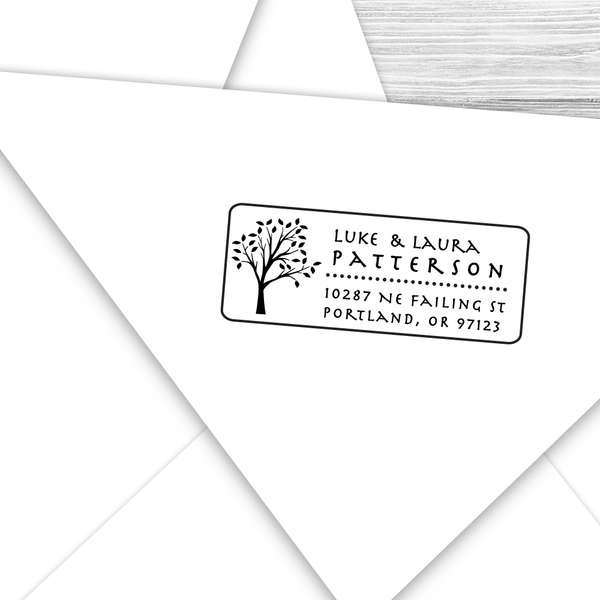 Rectangle Address Stamp with Leafy Tree
