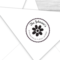 Round Address Stamp with Frilly Flower