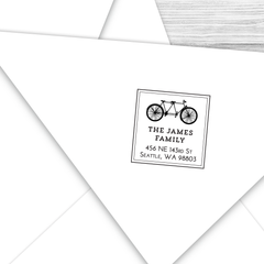 Square Address Stamp with Bicycle Built for Two