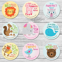 Valentines sticker set with kitty, elephant, bear, squirrel, bird, whale, monkey, deer and lion