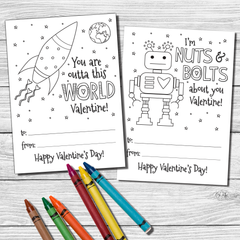 Color your own Valentine's Day Cards School Valentines