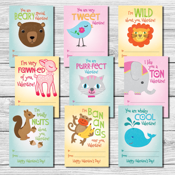 "Kids Valentine's Day Cards Set of 9 ""Punny"" Sayings School Valentines"