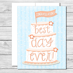 Congratulations on your best day ever! Hand drawn greeting card