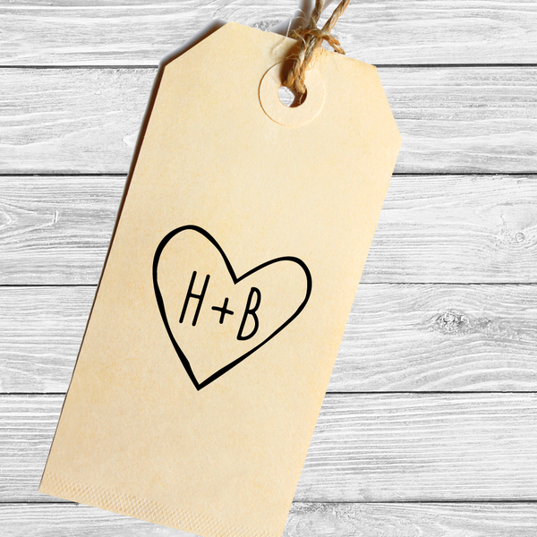 Rustic Heart with Initials Wedding Favor Stamp