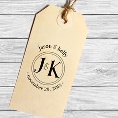 Round Save the Date Stamp with Both Initials
