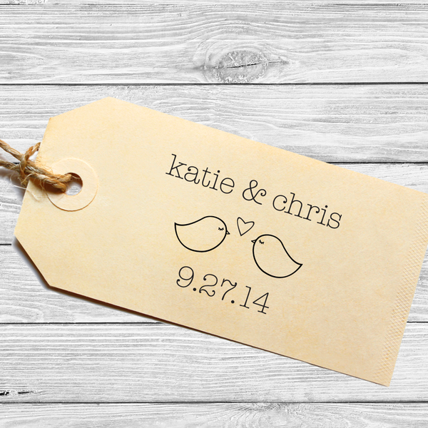 Wedding Favor or Save the Date Stamp with Lovebirds