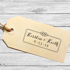 Rectangle Save the Date Stamp with Swirly Little Hearts