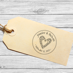 Round Save the Date Stamp with Swirly Heart