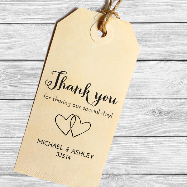 Wedding Favor Thank You Stamp with Two Hearts