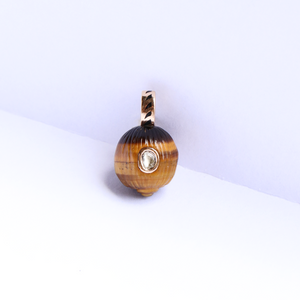Golden Tiger Eye & Polki Diamond Coquito Pendant