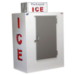 Outdoor freezer that can hold large amount of bagged ice. Great for restaurants and commercial spaces