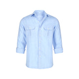 Double Pocket Linen Shirt in Blue