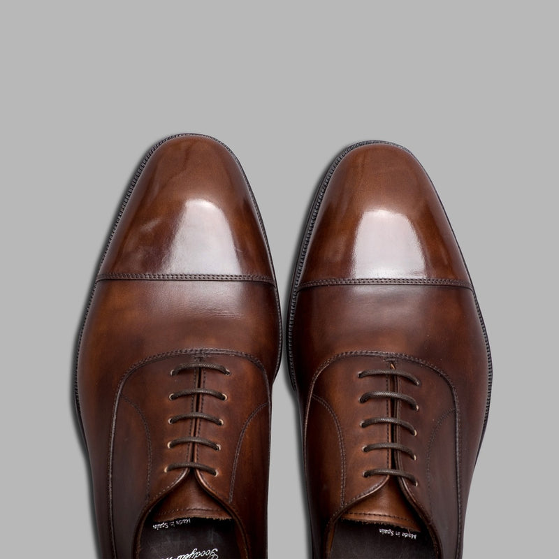 Cap Toe Balmoral Oxford in Dark Brown Museum Calf Leather