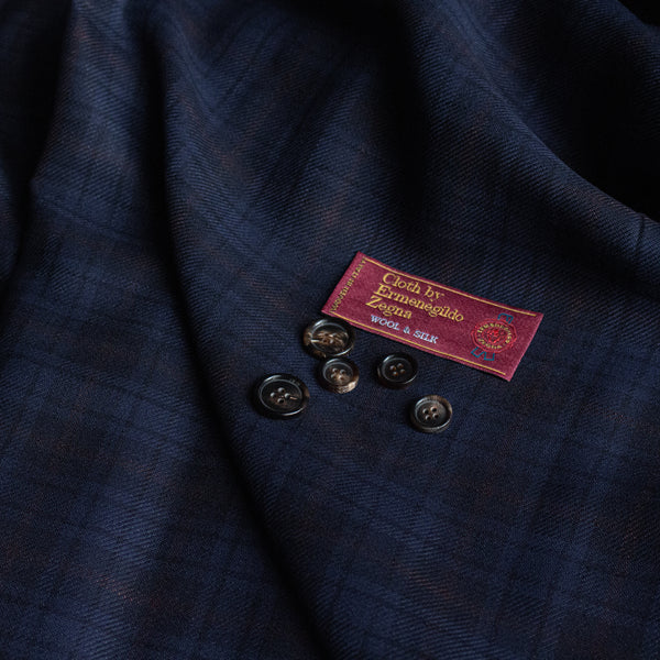 Navy/Brown Check Ermenegildo Zegna Wool/Silk Jacketing (2m)