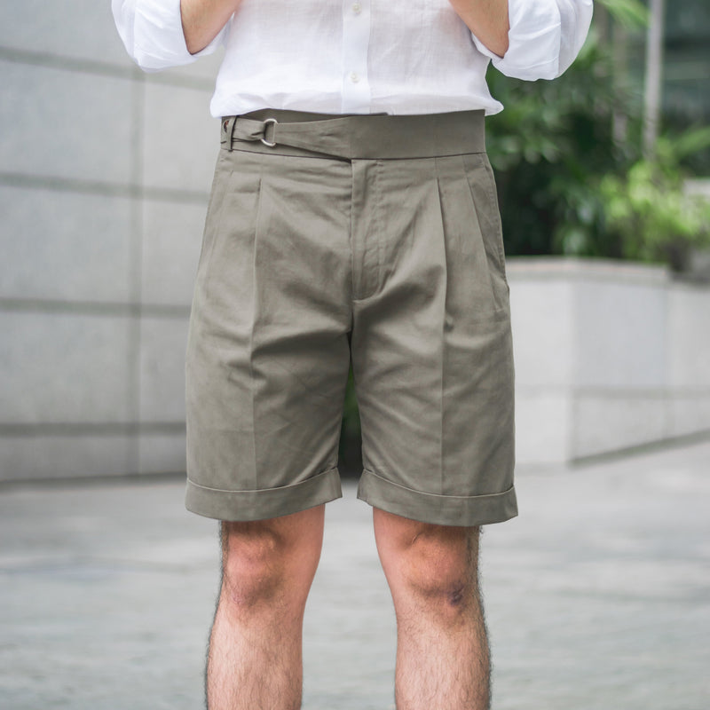 Dugdale Cotton D-Ring Shorts in Stone
