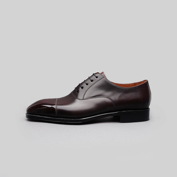 Cap Toe Oxford in Burgundy Calf Leather