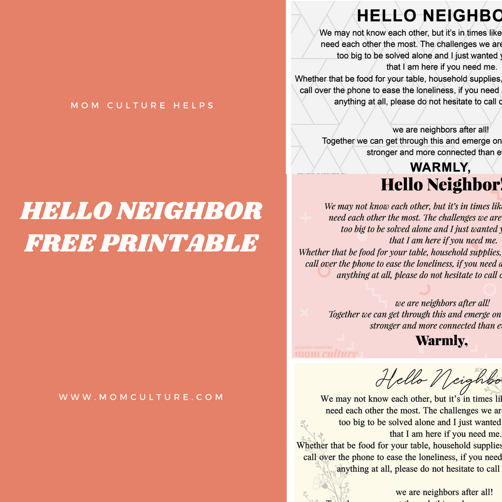 Hello Neighbor!  Community in the wake of COVID-19