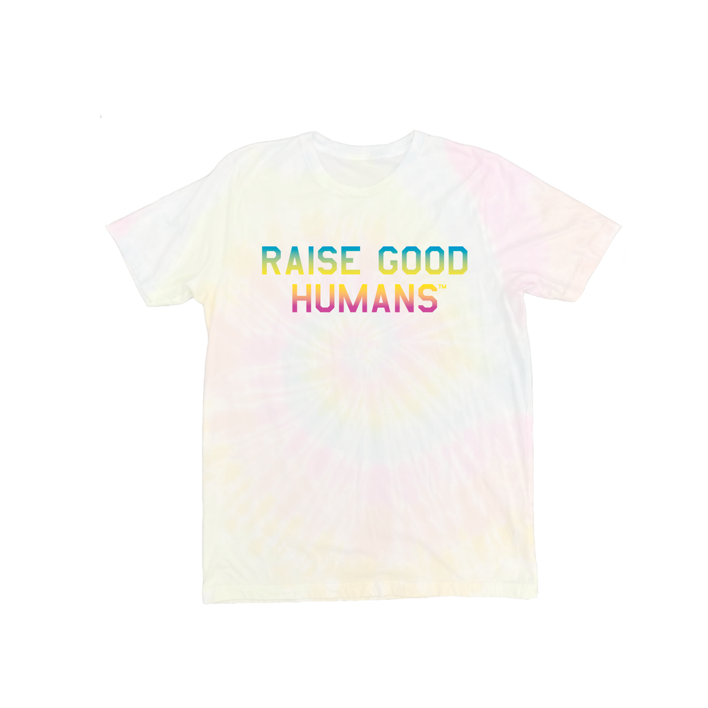 """RAISE GOOD HUMANS®"" Tie Dye Swirl Rainbow Tee"