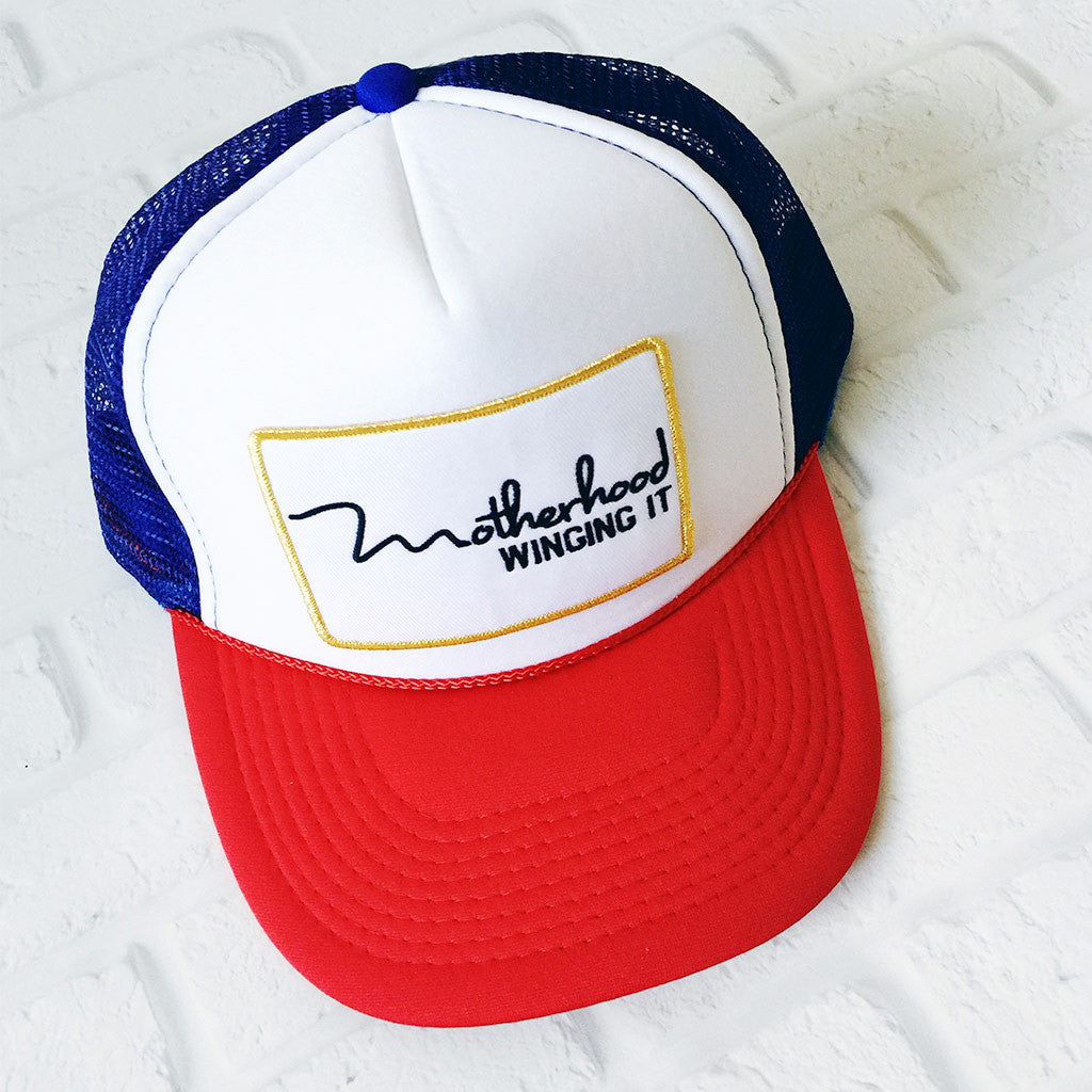 """Motherhood Winging It®"" Trucker Hat - Limited Edition #REDWHITEANDWINGINGIT"