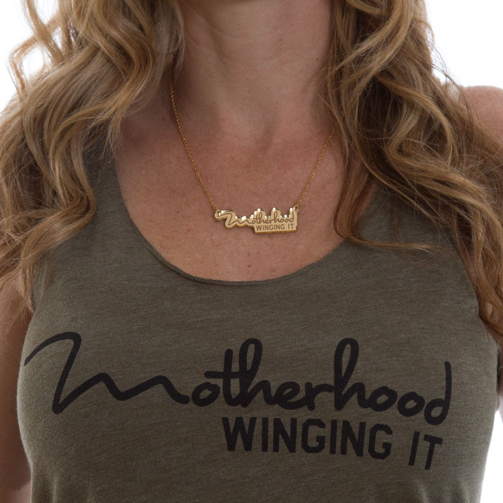 """Motherhood Winging It®"" Necklace - Mom Culture"