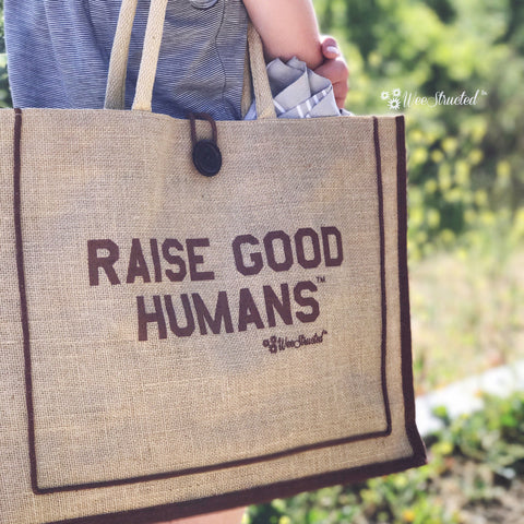 """RAISE GOOD HUMANS™"" Jute Beach Tote"