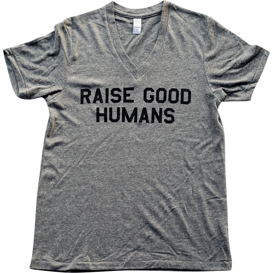 """RAISE GOOD HUMANS®"" V-Neck Tee - Mom Culture"