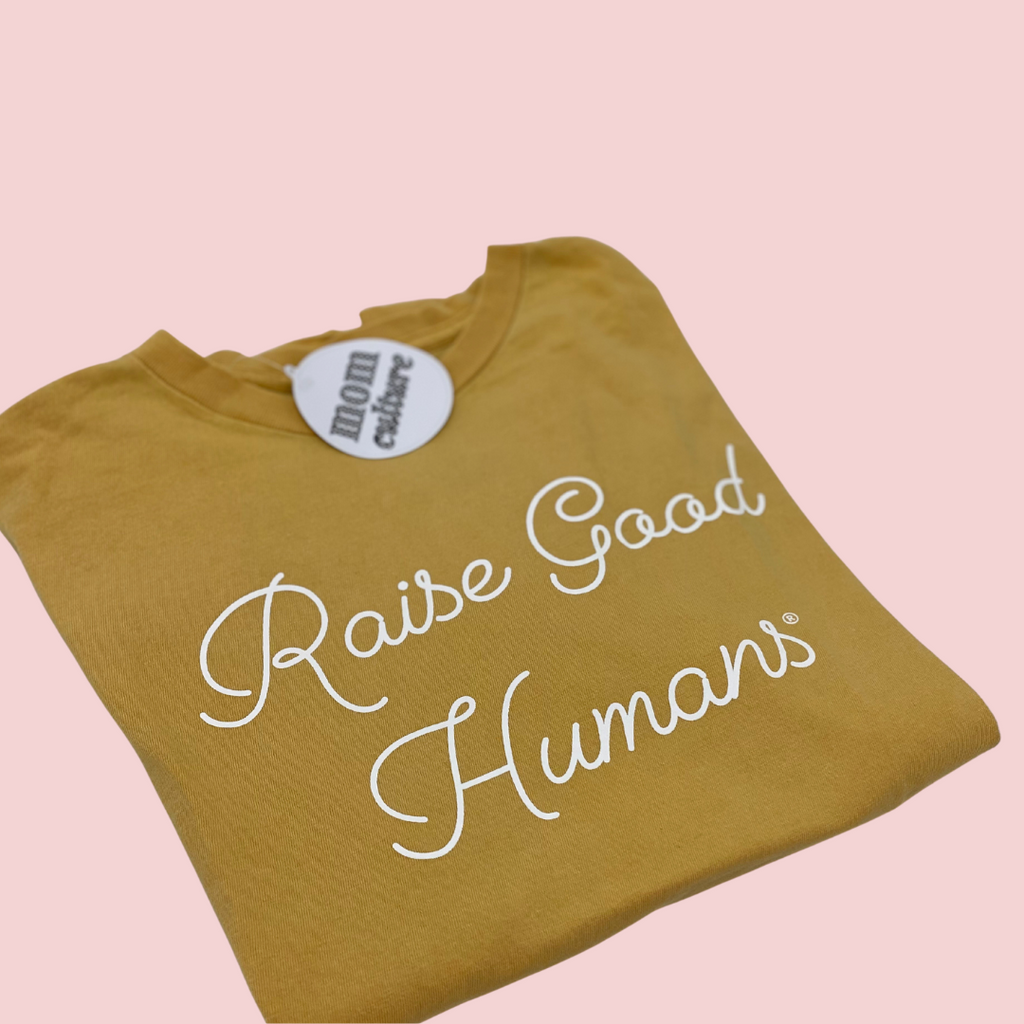 """Raise Good Humans®"" Vintage Wash Script Tee"