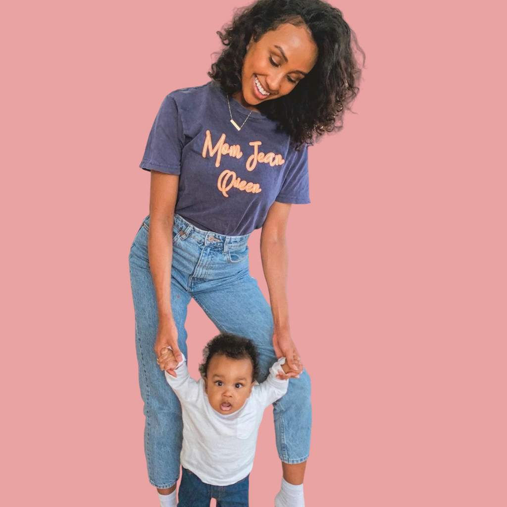 """Mom Jean Queen©"" Vintage Denim Tee"