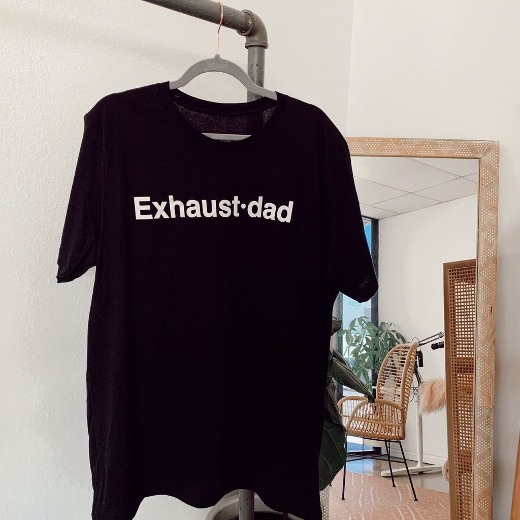 Black cotton graphic shirt featuring Exhaustdad graphic