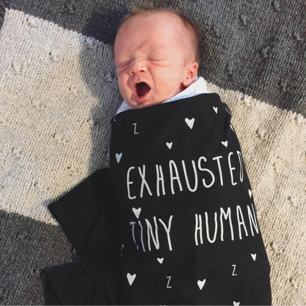 """Exhausted Tiny Human"" Baby Blanket"