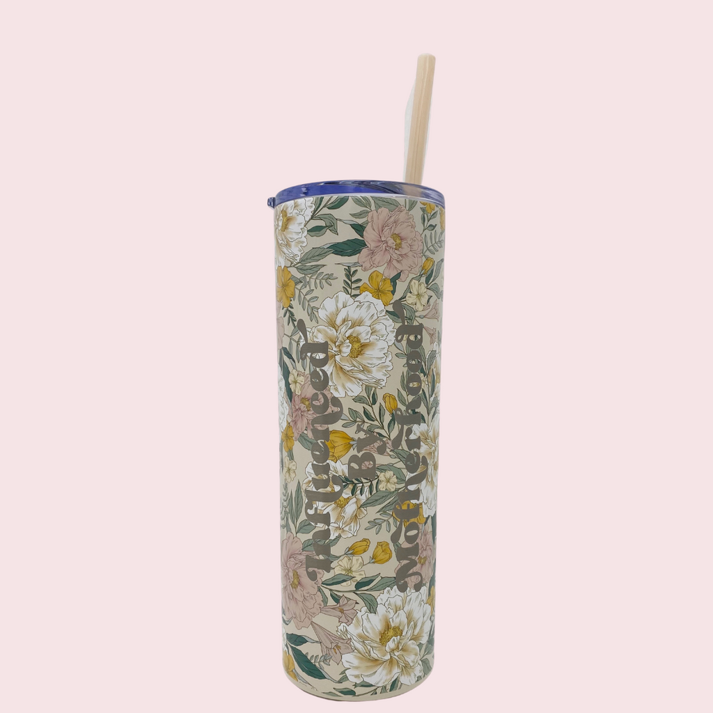 """Influenced by motherhood©"" 20 oz. Stainless Steel Floral Tumbler"