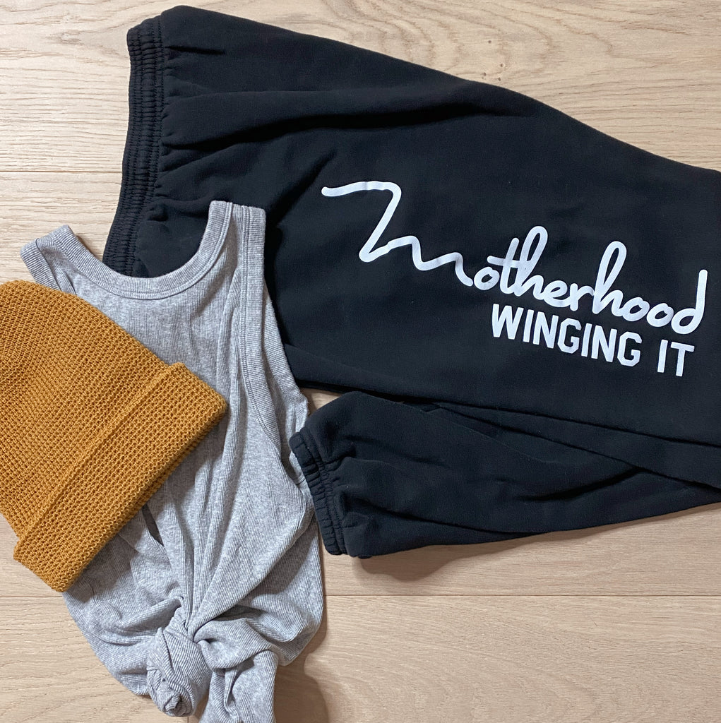 """Motherhood Winging It®"" Boyfriend/Husband Style Sweats"