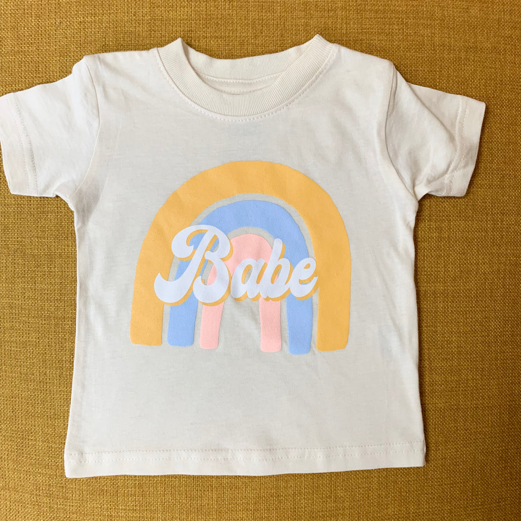 """Rainbow Babe©"" Modern Tee - Mom Culture"