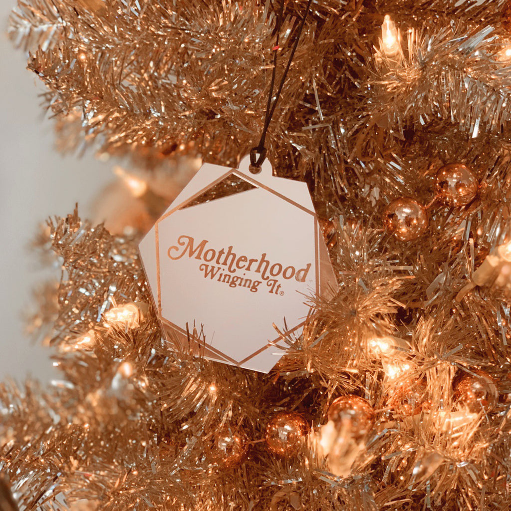 """Motherhood Winging It®"" Rose Gold Holiday Ornament 